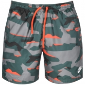 Nike Camouflage Logo Swim Shorts Green